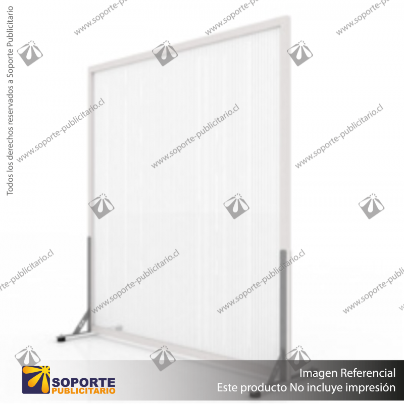 BIOMBO SEPARADOR AMBIENTES PA 6 MM CON MARCO PVC 150*200 CMS TRANSPARENTE CON TOPES REGULABLES